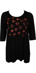 Handberg - Tunica with 3/4 sleeves a-shaped with nice orange star-print