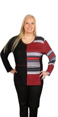 Handberg - Blouse with long sleeves and round neck, with smart stripes in the one side, and lace sewed-in in front piece