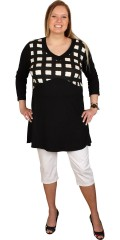 Handberg - Tunica with long sleeves and stay in nice chequered fabric