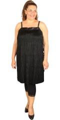 Handberg - Fest kjole med frynser i forstykket og med tynde stropper