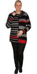 Handberg - Striped knit blouse with big nice collar decorate buttons
