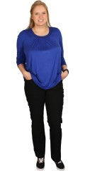 DNY (MARC LAUGE) - Long-sleeve cobolt blue tunica/blouse with nice pearl decoration in the neck
