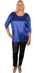 DNY (MARC LAUGE) - Blouse with shiny animal print front and round neck