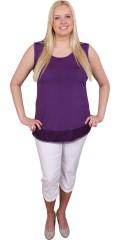 Gozzip - Must have-top/underkjole med rund hals, brede stropper og bred blonde forneden