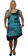 Cassiopeia - Asymetrisk klänning med vacker tryck och grov blixtlås i nacken. Lag på lag chiffon