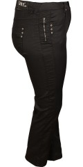 DNY (MARC LAUGE) - Coated mody pants with 5 pockets and super stretch, length from crotch 80 and 86 cm., with adjustable rubber band from size. 46 and up and with belt straps