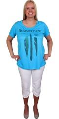 Cassiopeia - Sød sommer t-shirt med print og rå kanter