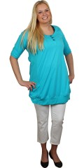 Handberg - Stylish tunica with short sleeves and small pockets front