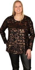 Gozzip - Long-sleeve blouse with gold in light a-shaped. Fine  with gold buttons on sleeves and front piece.