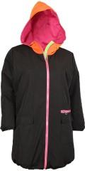 Nais - Svart overgangsjakke med vattert pink for. Orange hette og smart pink glidelåser