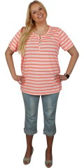 Zhenzi - Fine striped t-shirt with short sleeves, round neck and