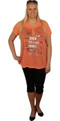 Zhenzi - Tynd og fin t-shirt med blomsterpræg og print. rund hals og stolpelukning med blonde