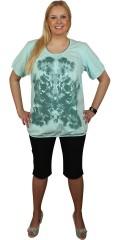 Zhenzi - Lækker t-shirt med korte ærmer. afsluttes med elastik i ærmer og forneden. smart print med pailletter
