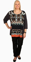 Q´neel - Casual blouse from q´neel with 1/2 sleeves, graphic print in autumn nice colours