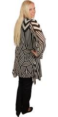 Q´neel - Fine chiffon-jakke/kardigan i flott svart/hvit mønster