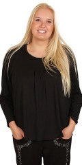 Q´neel - Blouse with good width, long sleeves and round neck, nice cut front with pleat