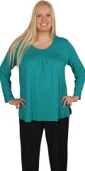 Q´neel - Blouse with long sleeves and round neck, nice cut front with pleat