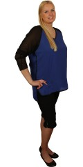 Studio - Really fine blue/black chiffon top with long sleeves and edges of leather