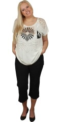 Veto - T-shirt med rund hals og små vingeærmer med sort og kobberfarvet tryk