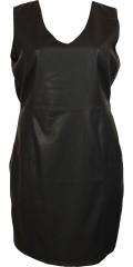 Veto - Sej og stilfuld faconsyet kjole med pu forstykke og grov lynlås i ryggen