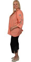 Zhenzi - Sommer skjorte/jakke med 3/4 ærmer og 2 lommer med lynlås