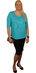 Handberg - Flot t-shirt med halv-ærme og flot turkis nitte-stjerne