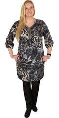 Zhenzi - Tunika klänning med 3/4 ärmar, v-hals med silver pärla band, gummiband i ärmarne