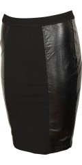 Zhenzi - Skirt with leather look in both sides with smart stichings, is closed with zipper in behind