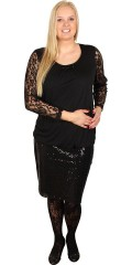 Zhenzi - Blouse with lace sleeves and round neck with fine diamonds and nice wrinkle effects in front piece