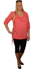 Zizzi - T-shirt med 3/4 ærmer og flot hals med læg samt snøre i opsøm