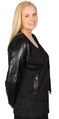"Zhenzi - Smart vaflet jakke med lynlås, 2 pynte lommer, ærmer med ""læder look"" og fine syninger"