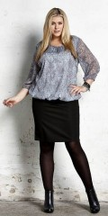 Zhenzi - Smart nederdel med elastik i hele taljen i vaflet stof