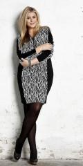 Zhenzi - Flot langærmet kjole med sorte paneler og fræk lynlås i halsen