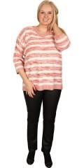 Zhenzi - Pullover med 3/4 ærmer i flot stribet strikket kvalitet med v-hals