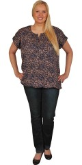 Cassiopeia - Smart blouse with small wing sleeves and  in warm colours and graphic print