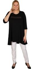 Handberg - T-shirt/tunica med 3/4 ærmer og dryp i siderne samt nitter