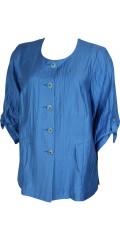 Q´neel - Faconsyet jakke/cardigan med 3/4 ærmer som kan draperes, i flot crinkle kvalitet med lommer og smarte knapper