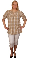DNY (MARC LAUGE) - Smart tunika bluse med stolpelukning og 2 små lommer foran. let a-facon