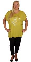 Cassiopeia - Smart t-shirt med kort vingeærme, lynlås i nakken og flot print på brystet