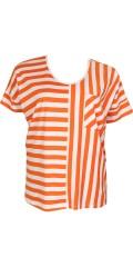 Zhenzi - T-shirt med ½ ærmer og smarte striber samt brystlomme