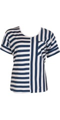 Zhenzi - T-shirt with ½ sleeves and smart stripes also chest pocket