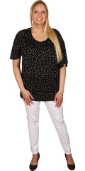 Zhenzi - T-shirt with short sleeves, round neck and rib at the bottom and with smart dots