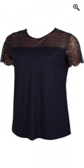 Cassiopeia - Soft t-shirt top with lace stay and little slits in the neck
