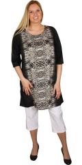 Cassiopeia - Tunika/klänning med 3/4 ärmar och vacker  dyreavtryck. Söt slitsar i nacken. Fina tunn polyester-kvalitet