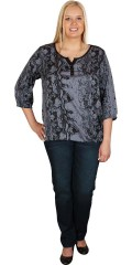 Cassiopeia - Blouse with 3/4 sleeves and  closing and rubber band in bottom and the sleeves. Nice graphic pattern