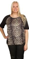Cassiopeia - Dalia t-shirt med tryk på forstykket og elastik forneden
