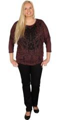 Zhenzi - T-shirt med 3/4 ærme længde i tyk/tynd kvalitet med flot print og palietter