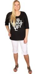 Zhenzi - T-shirt med rund hals og 3/4 ærmer, og smart tryk