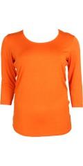Zhenzi - T-shirt med 3/4 ærmer og rund hals