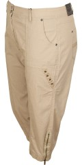 Zhenzi - Stump trousers in flax look with stretch, adjustable rubber band in the waist and belt straps